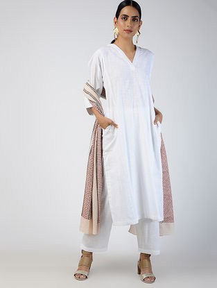 White Cotton Slub Kurta with Pockets