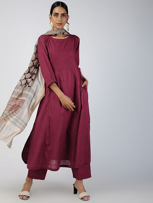 Maroon Cotton Slub Kurta with Pockets