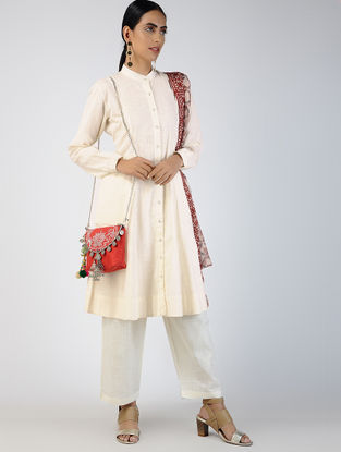 Ivory Front-open Cotton Slub Kurta with Pockets