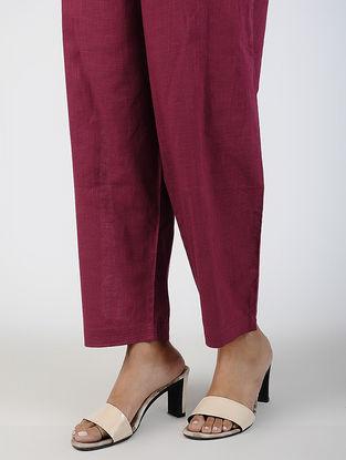 Maroon Tie-up Waist Cotton Slub Pants