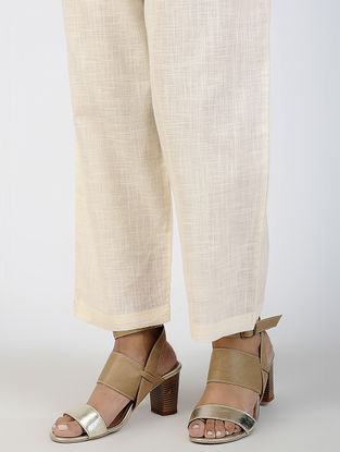 Ivory Tie-up Waist Cotton Slub Pants