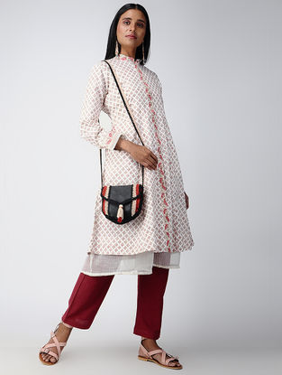 Ivory-Red Block-printed Cotton Jacket with Kota Dress (Set of 2)