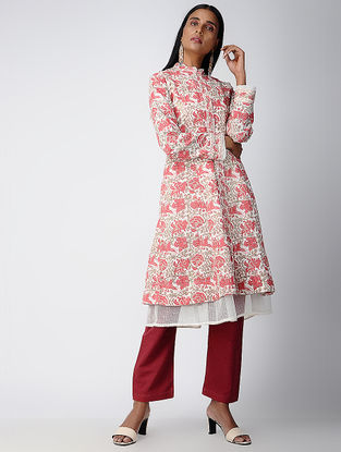 Red Block-printed Cotton Jacket with Kota Dress (Set of 2)