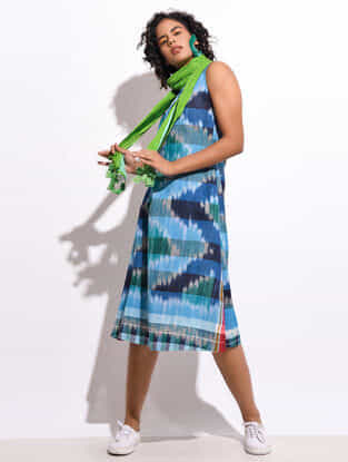 Multicolored Front Tie-Up Handloom Cotton Dress with Pockets