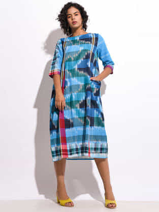 Multicolored Handloom Cotton Dress with pockets