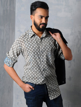 Ivory-Black Dabu-printed Cotton Shirt