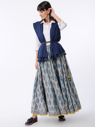 Ivory-Indigo Dabu-printed Cotton Skirt with Tassels