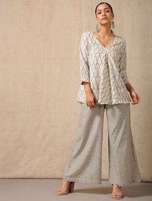 Ivory-Grey Handloom Ikat Cotton Top