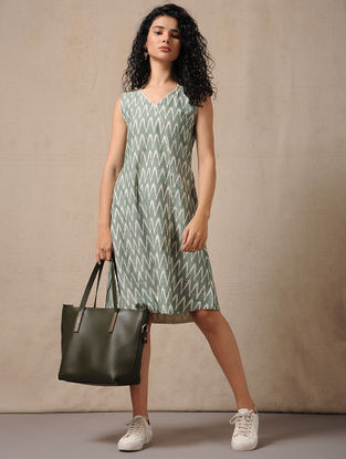 Ivory-Green Handloom Ikat Cotton Dress with Pockets