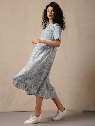 Ivory-Blue Handloom Ikat Cotton Dress with Pockets