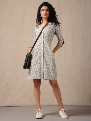 Ivory-Grey Handloom Ikat Cotton Dress with Pockets