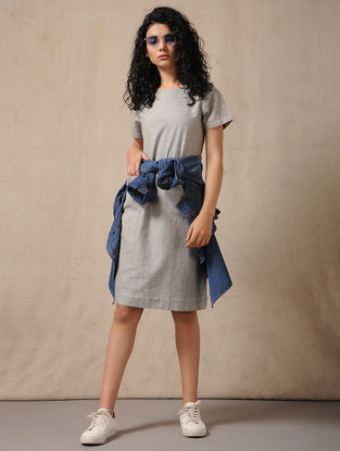 Grey Handloom Cotton Dress with Pockets