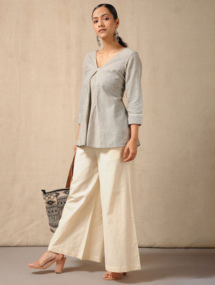 Ivory Elasticated-waist Cotton Palazzo