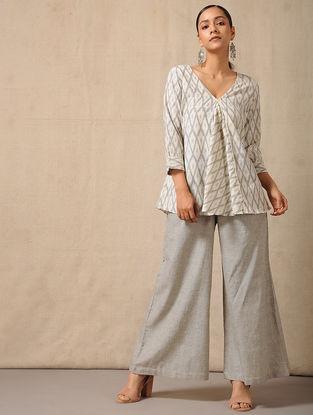 Grey Elasticated-waist Cotton Palazzo