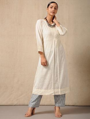 Ivory-Blue Tie-Up waist Handloom Ikat Cotton Pants