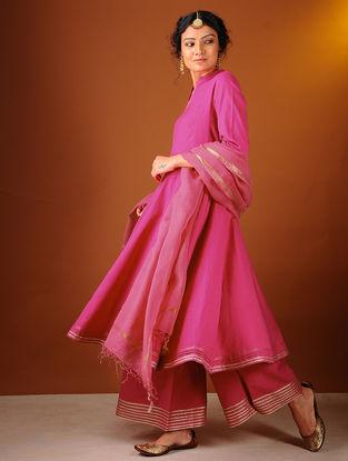 Pink Cotton Kalidar Kurta with Gota