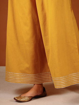 Mustard Elasticated-waist Palazzos with Gota