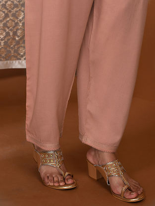 Pink Tie-Up Waist Modal Pants
