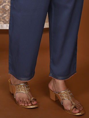 Blue Tie-Up Waist Modal Pants