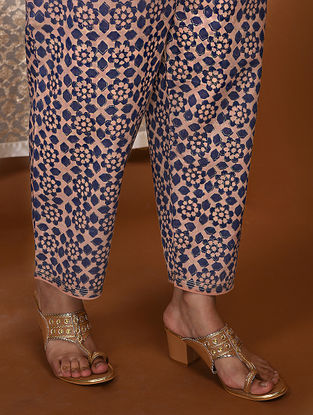 Pink-Blue Khari Block-Printed Tie-Up Waist Modal Pants