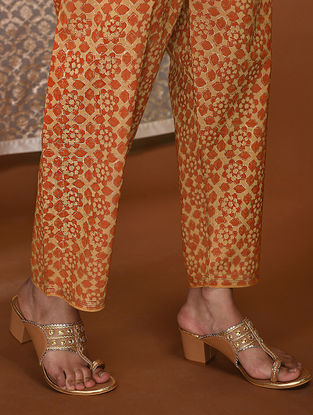 Yellow-Orange Khari Block-Printed Tie-Up Waist Modal Pants