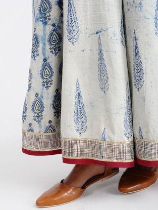 Ivory-Indigo Dabu-printed Cotton Skirt with Tassels