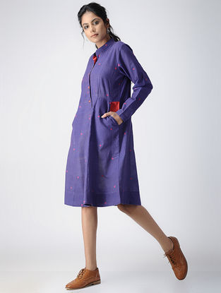 Blue-Maroon Button-down Handloom Cotton Dress by Jaypore