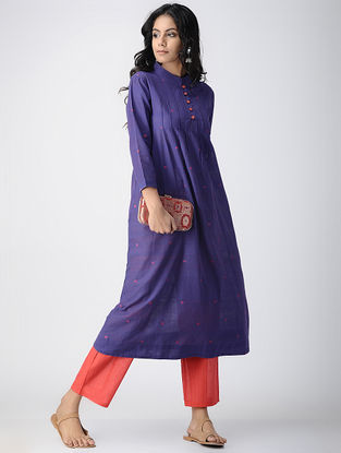 Blue Handloom Cotton Kurta with Pleats by Jaypore
