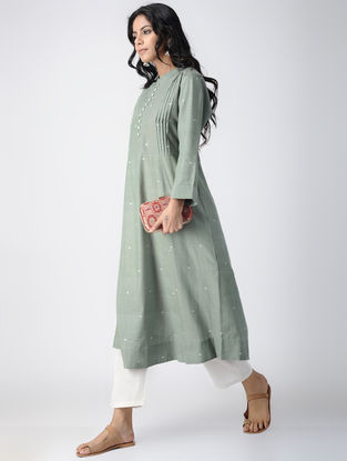 Green Handloom Cotton Kurta with Pleats by Jaypore