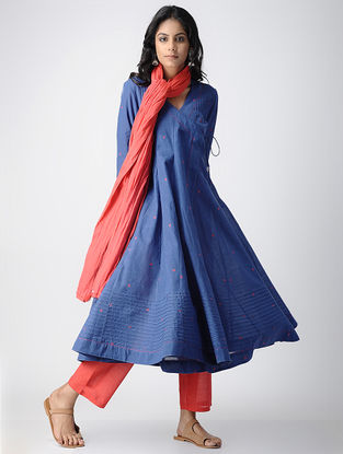 Blue Handloom Cotton Angrakha with Pintucks by Jaypore