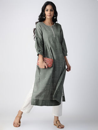 Green Handloom Cotton Kurta with Gathers by Jaypore