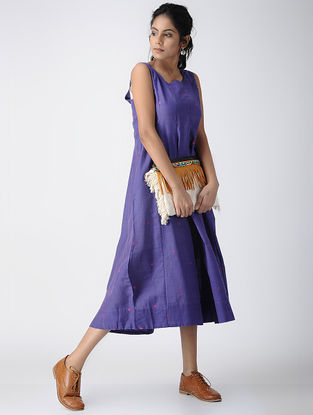 Purple Handloom Cotton Dress by Jaypore