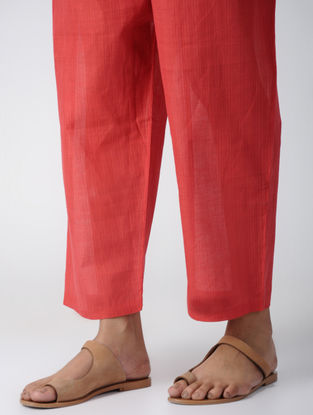 Coral Tie-up Waist Cotton Pants by Jaypore