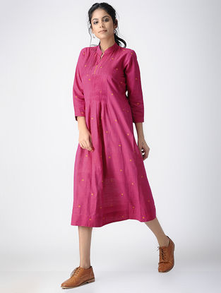 Pink Handloom Cotton Dress with Pintucks by Jaypore