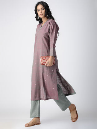 Purple Handloom Cotton Kurta with Top Stitch by Jaypore