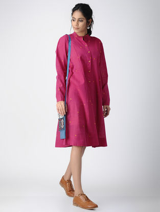 Pink Button-down Handloom Cotton Dress by Jaypore