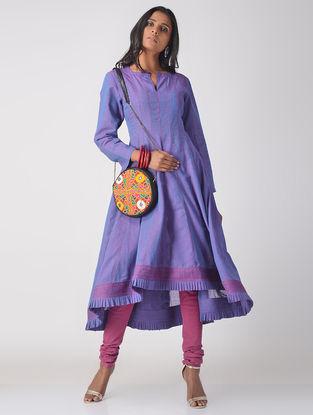 Purple Handloom Cotton Kalidar Kurta with Top Stitch Detail