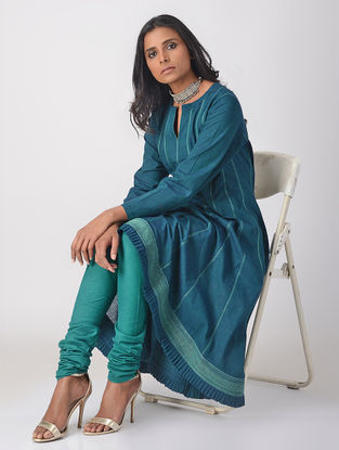Teal Handloom Cotton Kalidar Kurta with Top Stitch Detail