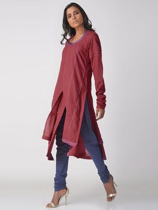 Maroon Handloom Cotton Layered Kurta with Top Stitch Detail