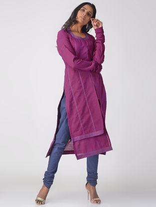 Purple Handloom Cotton Layered Kurta with Top Stitch Detail