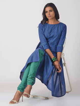 Blue Handloom Cotton Paneled Kurta with Top Stitch Detail