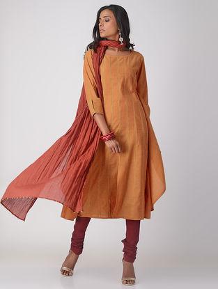 Orange Handloom Cotton Paneled Kurta with Top Stitch Detail