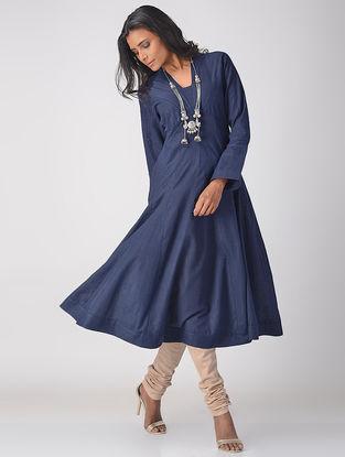 Blue Handloom Cotton Kalidar Kurta with Top Stitch Detail