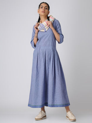 Ivory-Blue Handloom Cotton Dress with Gathers by Jaypore