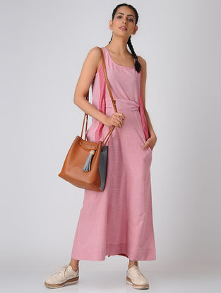 Ivory-Pink Handloom Cotton Dress with Belt by Jaypore