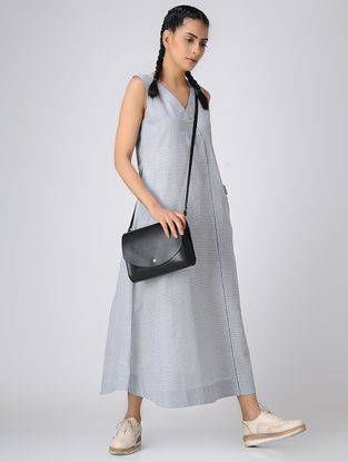 Ivory-Blue Handloom Cotton Dress with Pockets by Jaypore