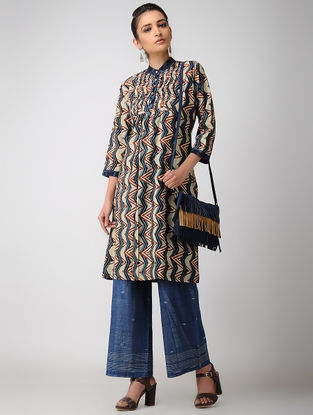 Ivory-Indigo Ajrakh Cotton Kurta with Pleats by Jaypore
