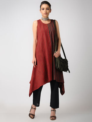 Madder-Brown Ajrakh Cotton Kurta by Jaypore