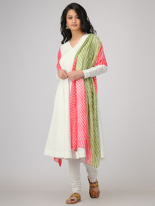 White Slub Cotton Angrakha with Pintucks