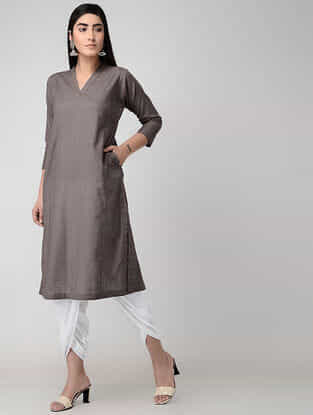 Taupe Cotton Slub Kurta with Pockets